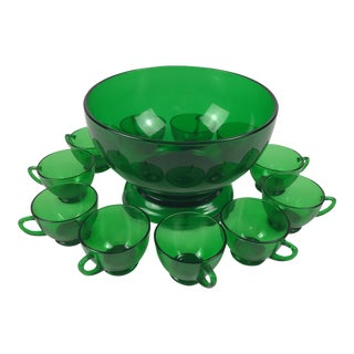 Mid-Century Emerald Green Punch Bowl & Cups - Set of 12