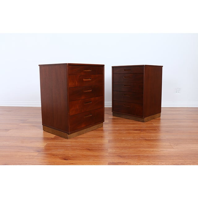 Mid Century Walnut Chests for Dunbar - Pair - Image 4 of 6