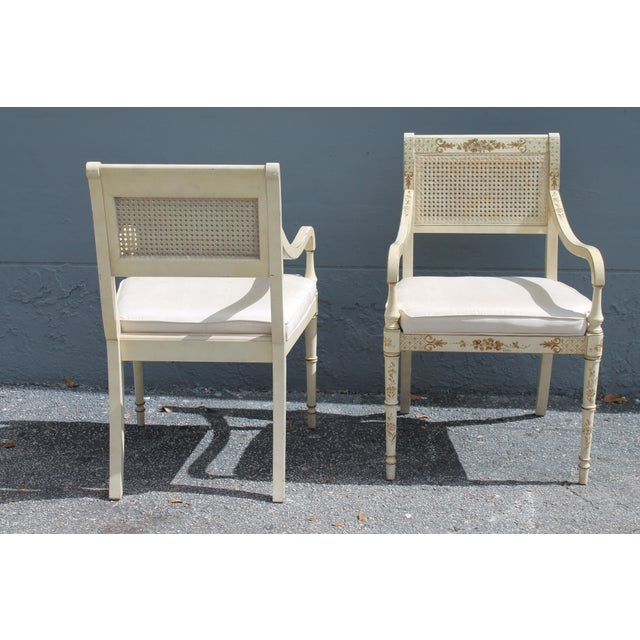 Caning Vintage Mid Century Taffeta Faux Bamboo Caned Armchairs- A Pair For Sale - Image 7 of 13