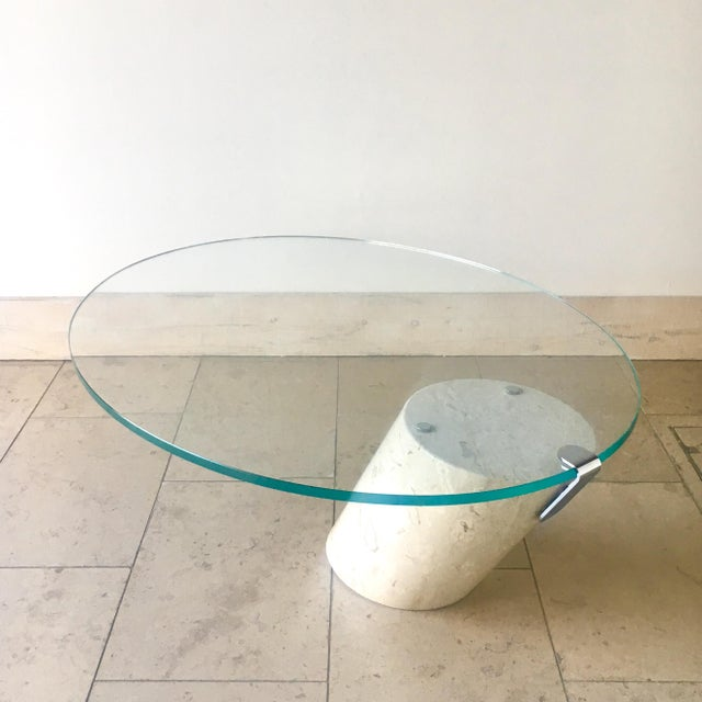 Mid-Century Modern Travertine and Glass Cantilevered Coffee Table 1980s For Sale - Image 3 of 8
