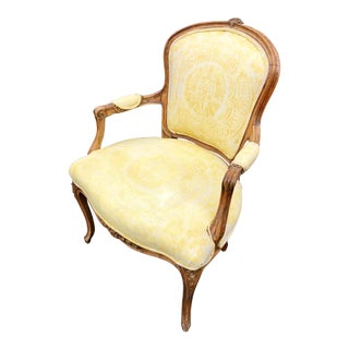 19th Century Louis XV Style Yellow French Chair/Fauteuil