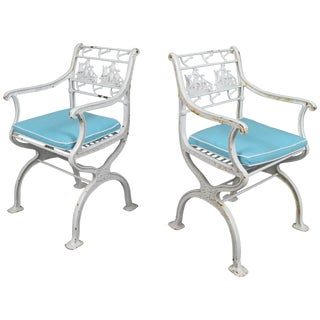 Pair of Rare Antique Cast Iron Sailing Ship and Anchor Chairs For Sale