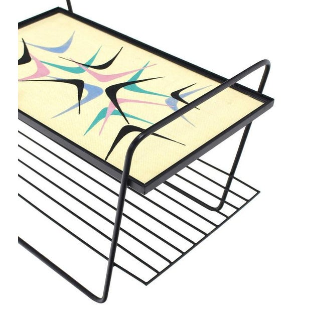 Early 20th Century Abstract Design Glass Top Wire Shelf Mid-Century Modern Side Table Tray For Sale - Image 5 of 7