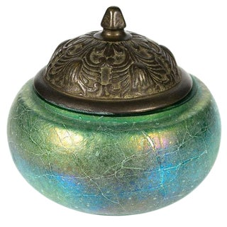 Early 20th C. Iridescent Glass & Bronze Jar For Sale