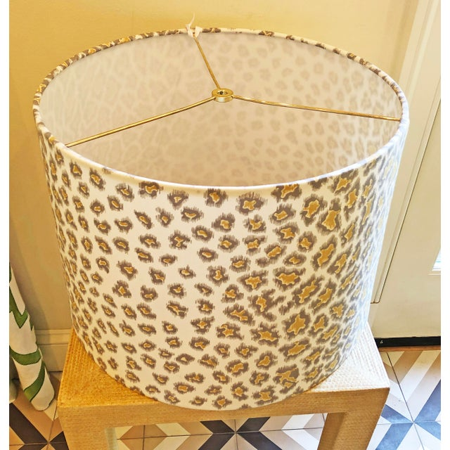 "Custom lamp shade in Brunschwig & Fils English Leopard Nougat fabric. Shade measures 16"" diameter across the top, 17""..."