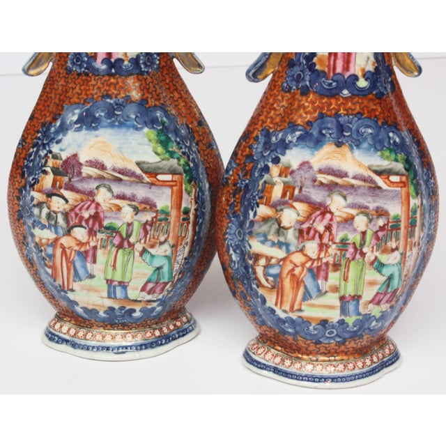 Two Pairs, 18th Century Mandarin Pallet Chinese Export Vases For Sale - Image 5 of 10