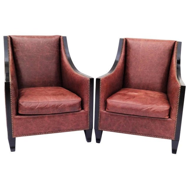 Animal Skin Pair of High Back Leather Club Chairs For Sale - Image 7 of 7