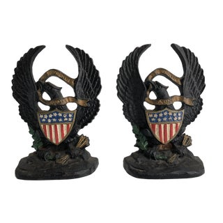 1920s American Eagle & Painted Flag Cast Iron Hubley Bookends - a Pair For Sale