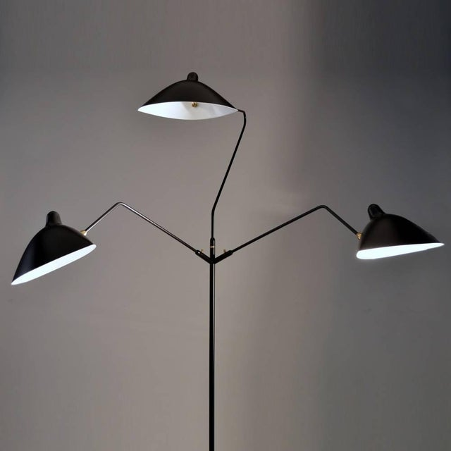2010s Standing Lamp With Three Arms in Black by Serge Mouille For Sale - Image 5 of 8