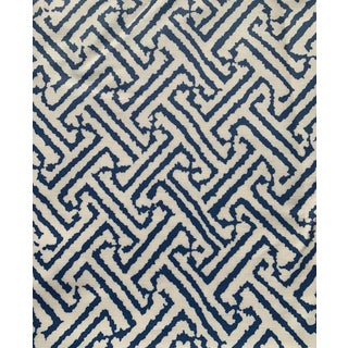 1.9 Yards Quadrille Java Grande Blue Laminated Fabric For Sale