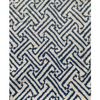 1.9 Yards Quadrille Java Grande Blue Laminated Fabric For Sale