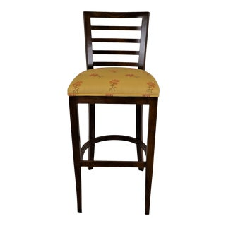 Contemporary Espresso Wooden Slat Back Counter or Bar Stool With Fabric Seat For Sale