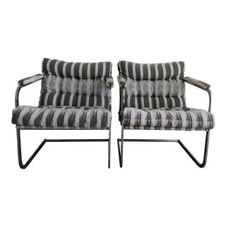 Milo Baughman Style Chrome Cantilever Upholstered Armchairs - A Pair