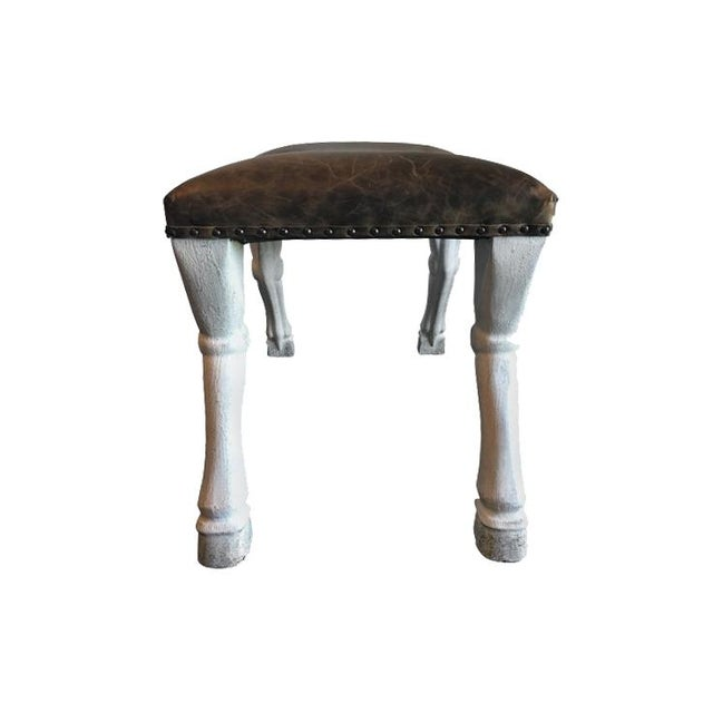 French Goat Leg Leather Upholstered Stool For Sale - Image 3 of 7