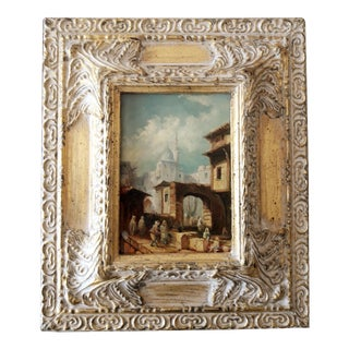 1940s Scenic Wood Panel Oil Painting With Gilt Frame For Sale