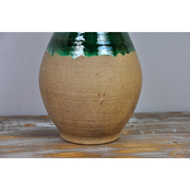 Vintage West Germany Handmade Ceramic Vase With Green Glazed Detail For Sale - Image 10 of 13
