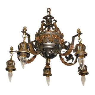 Wrought Iron Chandelier with Rams Heads For Sale