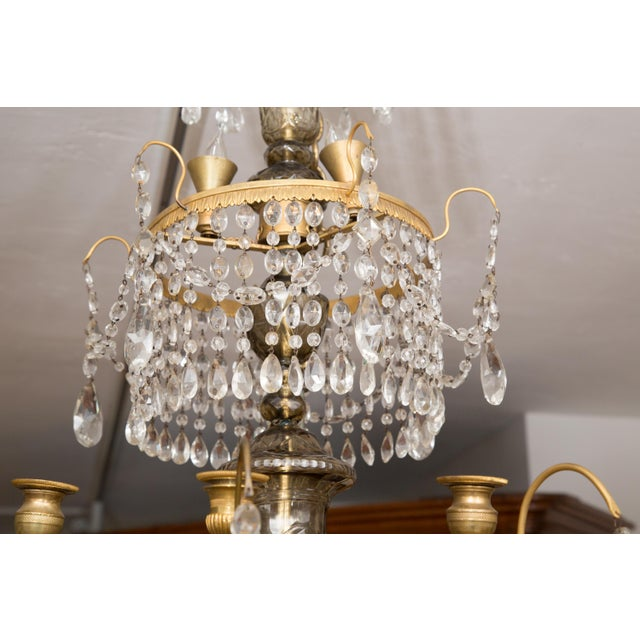 19th Century Gilt Metal and Crystal Baltic Chandelier For Sale - Image 10 of 13