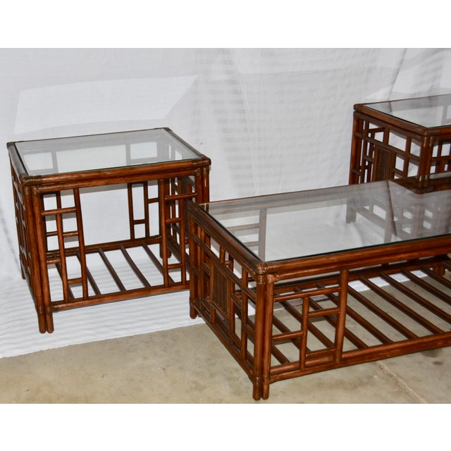 Boho Chic 1980s Vintage McGuire Style Bamboo Rattan Glass Top Tables- Set of 3 For Sale - Image 3 of 12