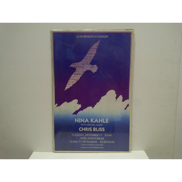 This is a Vintage -- Nina Kahle Concert Poster -- UCAB -- Circa 1980 -- The Poster Is Shrink-Wrapped To Cardboard
