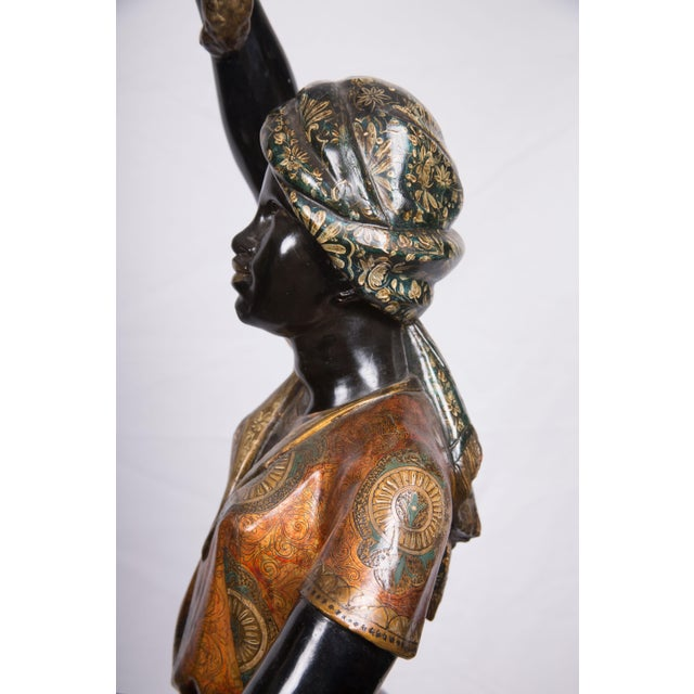 Figurative Pair of Venetian Polychrome Decorated and Ebonized Blackamoor Figures For Sale - Image 3 of 9