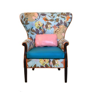 1960s Vintage Baby Blue Floral Wingback Accent Chair Preview