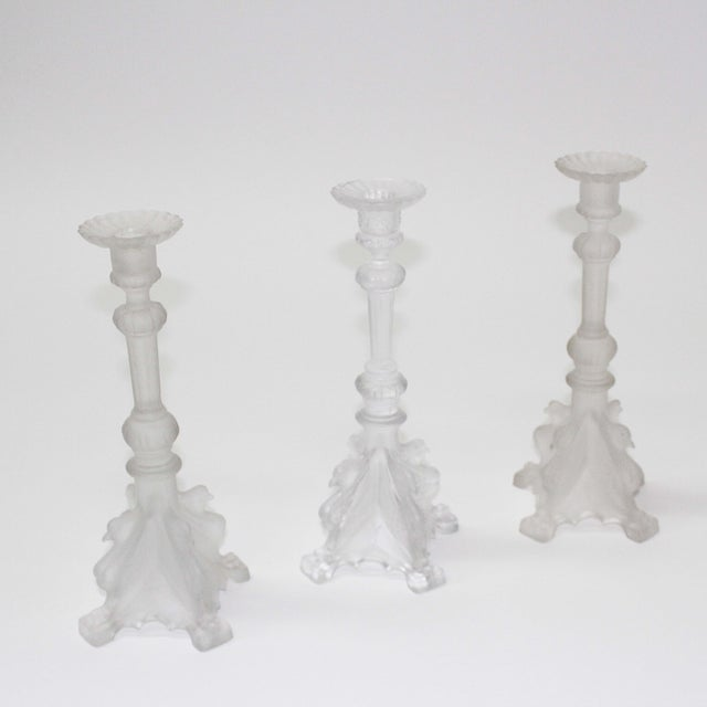 Val St. Lambert Frosted Candle Holders - Set of 3 - Image 2 of 6