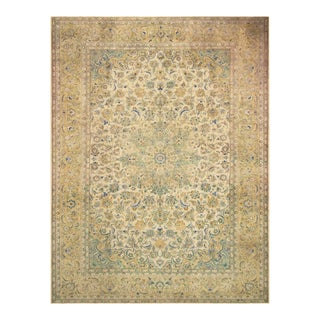 Vintage Distressed Over Dyed Color Reform Tenisha Ivory/Tan Wool Rug -9'9 X 12'11