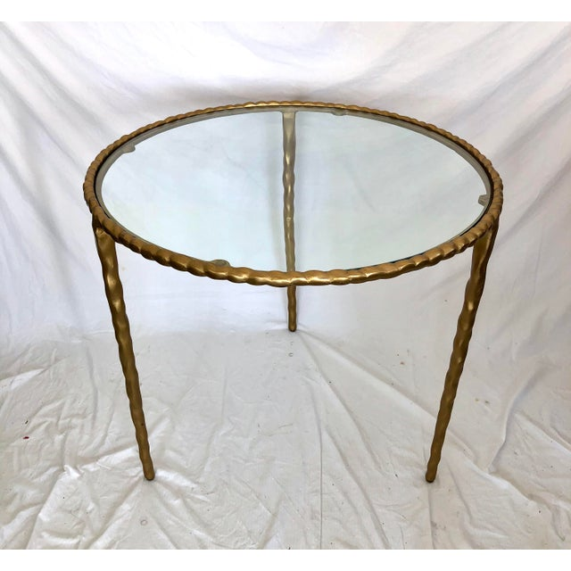 Jamie Young Jamie Young Glass Top Gold Table For Sale - Image 4 of 6