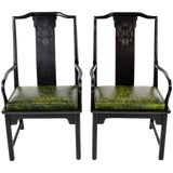 Image of Chin Hua Asian Modern Style Leather Seat Chairs - a Pair For Sale