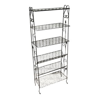 Vintage Wrought Iron Floral Bookcase Curio Rack Kitchen Stand Woodard Salterini For Sale