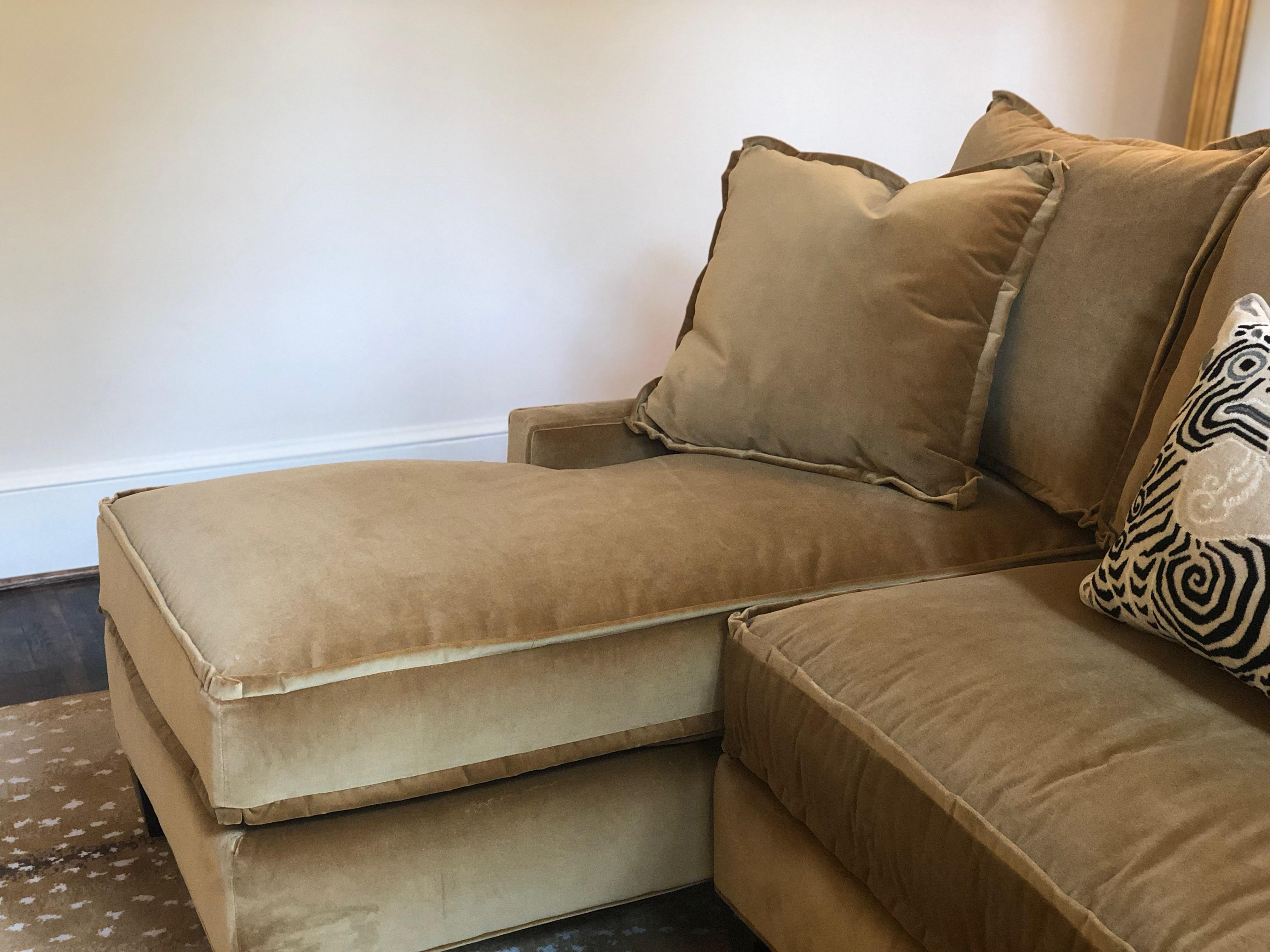 Stanford Double Chaise Sectional Sofa With Schumacher Mohair Velvet  Upholstery   Image 4 Of 10