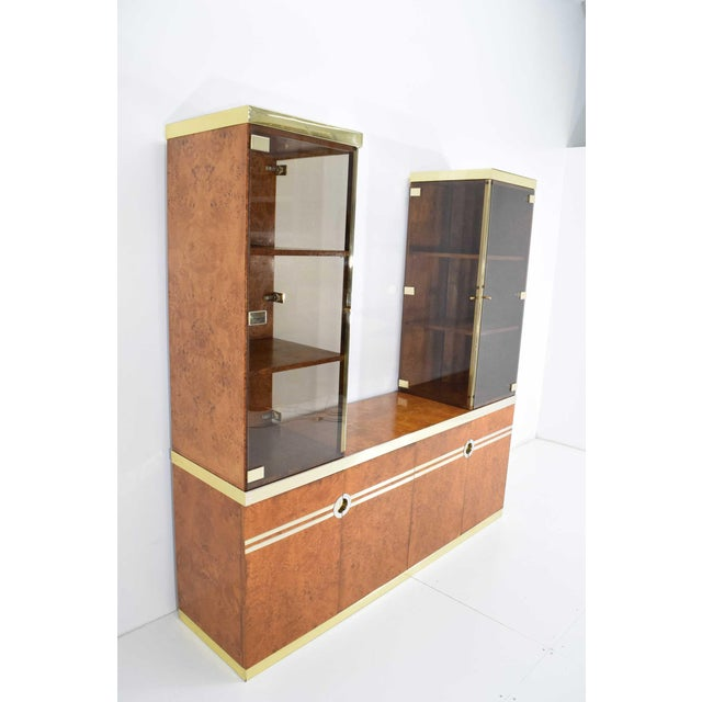 1970s 1970s Pierre Cardin Signed Burl Wood Sideboard With Two Tower Cabinets, France For Sale - Image 5 of 13