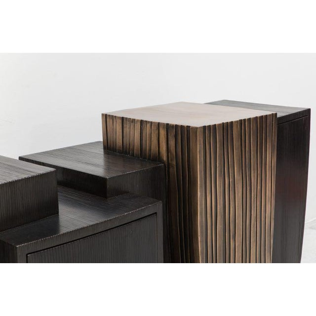 A scaled down version of Magakis' Blackened Steel and Layered Bronze Cantilevered Console, this smaller model retains the...