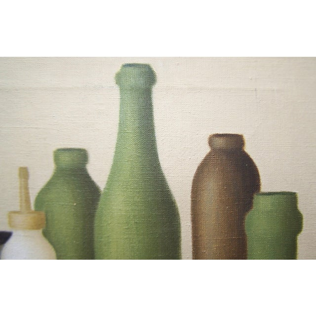 Mid-Century Green Bottles Still Life Painting - Image 7 of 8