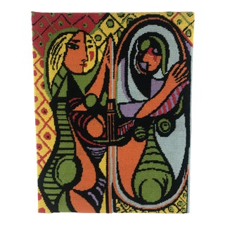 Cubist Girl Before a Mirror Picasso Painting Cross-Stitch Textile Art For Sale