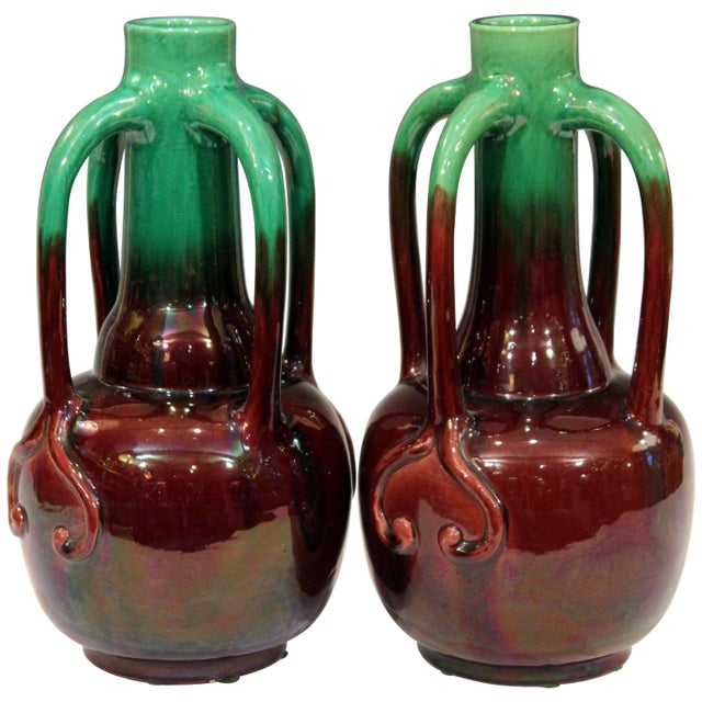 Pair of Art Nouveau Japanese Awaji Pottery Organic Gourd Form Tendril Vases For Sale - Image 10 of 10