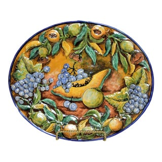 Majolica Guanajuato Pottery Platter With Stand For Sale