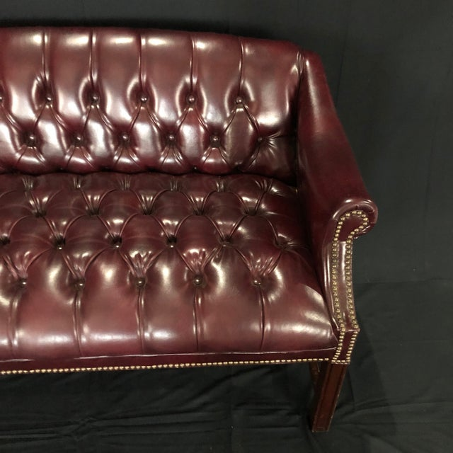 British Chesterfield Burgundy Leather Bench Loveseat For Sale In Naples, FL - Image 6 of 10