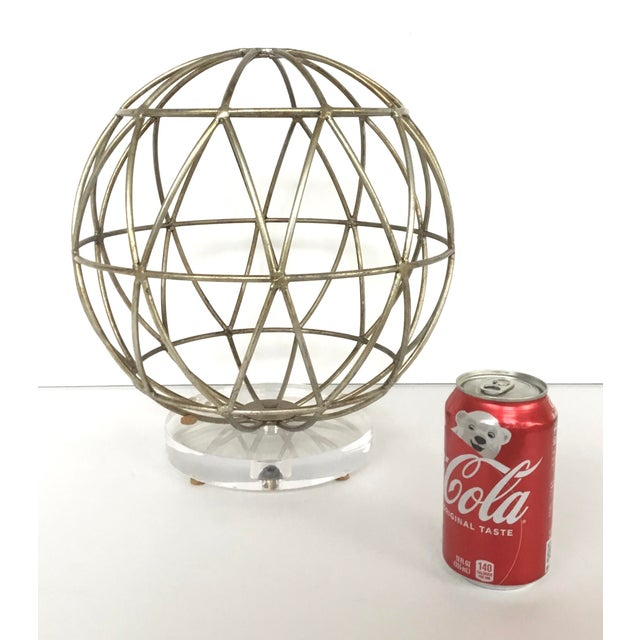 Modern Geometric Silver Finished Metal Sphere Sculpture on Acrylic For Sale - Image 4 of 5