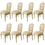 Image of 1930s Vintage French Caned Back Carved Dining Chairs- Set of 8 For Sale