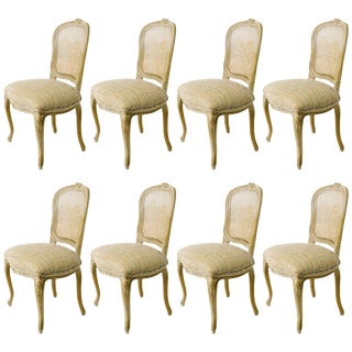 1930s Vintage French Caned Back Carved Dining Chairs- Set of 8 For Sale