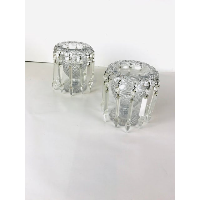 Vintage Crystal Girandoles /Luster Candle Holders - a Pair For Sale - Image 4 of 12