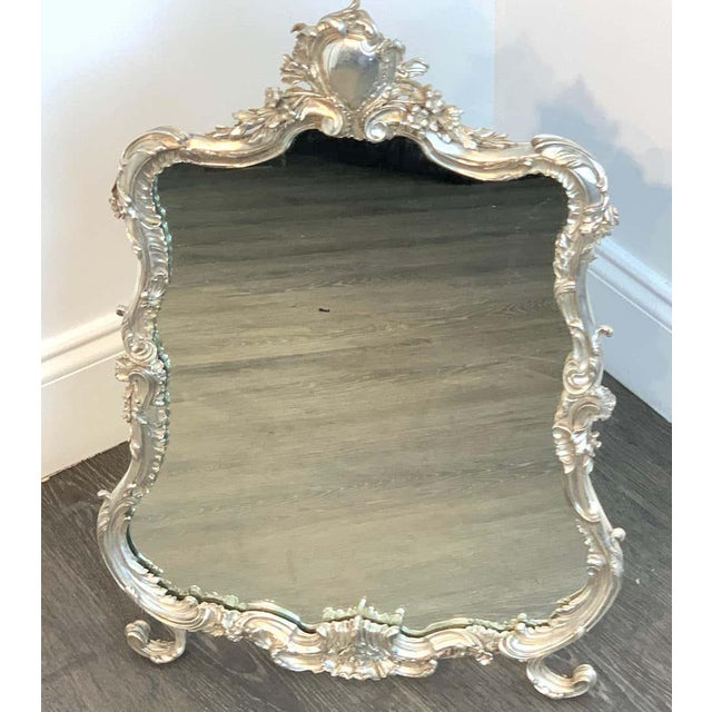 French Silver Plated Dressing Mirror For Sale - Image 9 of 12