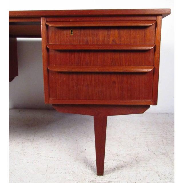 Double-Sided Scandinavian Modern Teak Desk - Image 3 of 9
