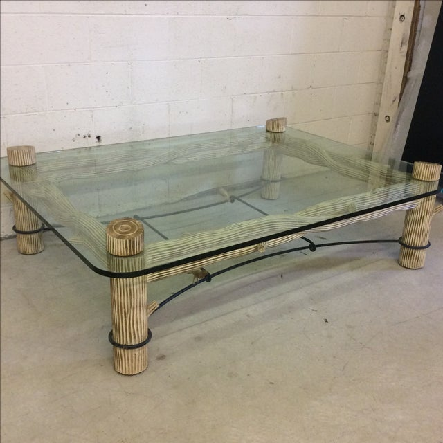 Faux Bois Iron & Glass Coffee Table For Sale - Image 4 of 6