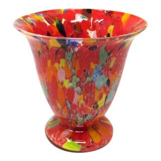 Art Deco Spatter Glass Vase For Sale