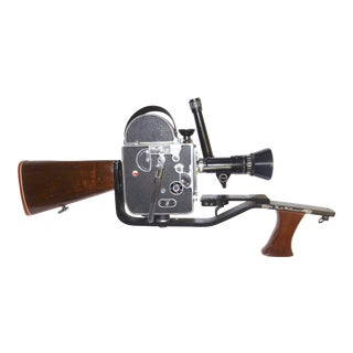 1950s Cinema Safari Display Piece, Custom Built Machined Wood Shoulder Stock, Fitment Carriage and Wood Grip for Bolex Motion Picture Camera For Sale