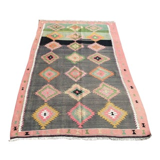 "1960s Vintage Turkish Kilim Rug-5'5'x8'5"" For Sale"