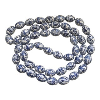 Chinese Blue & White Porcelain Beads With Bats For Sale